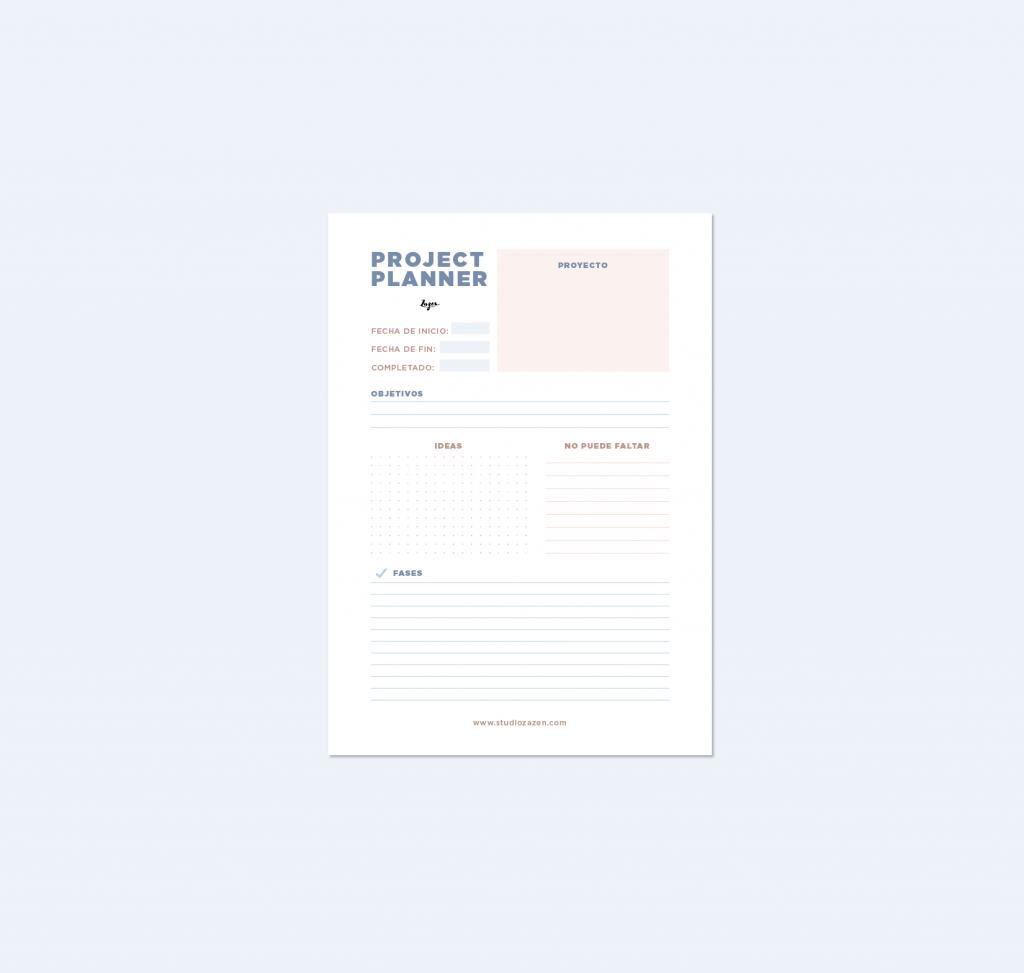 Project planner descargable gratuito de studio zazen, papelería y merchandising ecológica y social de diseño. Estudio Zazen, zen, eco